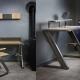 Bureau HOBART - Mobilier meuble industriel chataignier acier